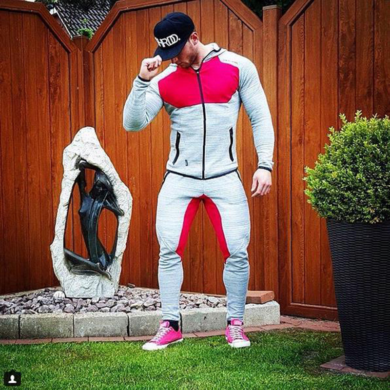 5bb9c79ae Hoodies Zipper Casual Sweatshirt Muscle Men's Slim Fit Hooded Jackets