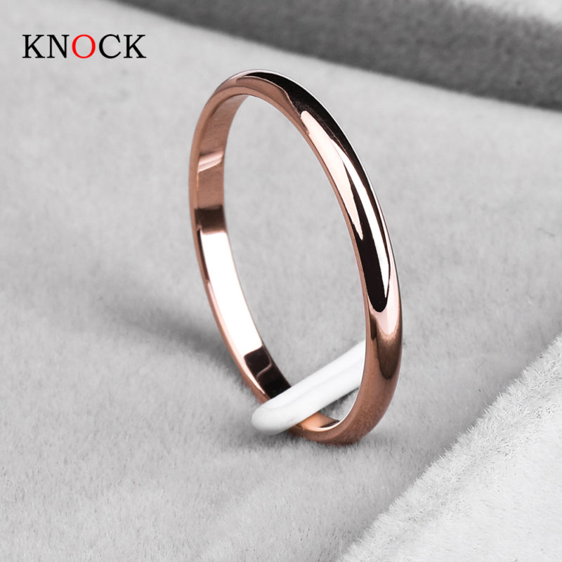 Titanium Steel Rose Gold Anti-allergy Smooth Simple Rings